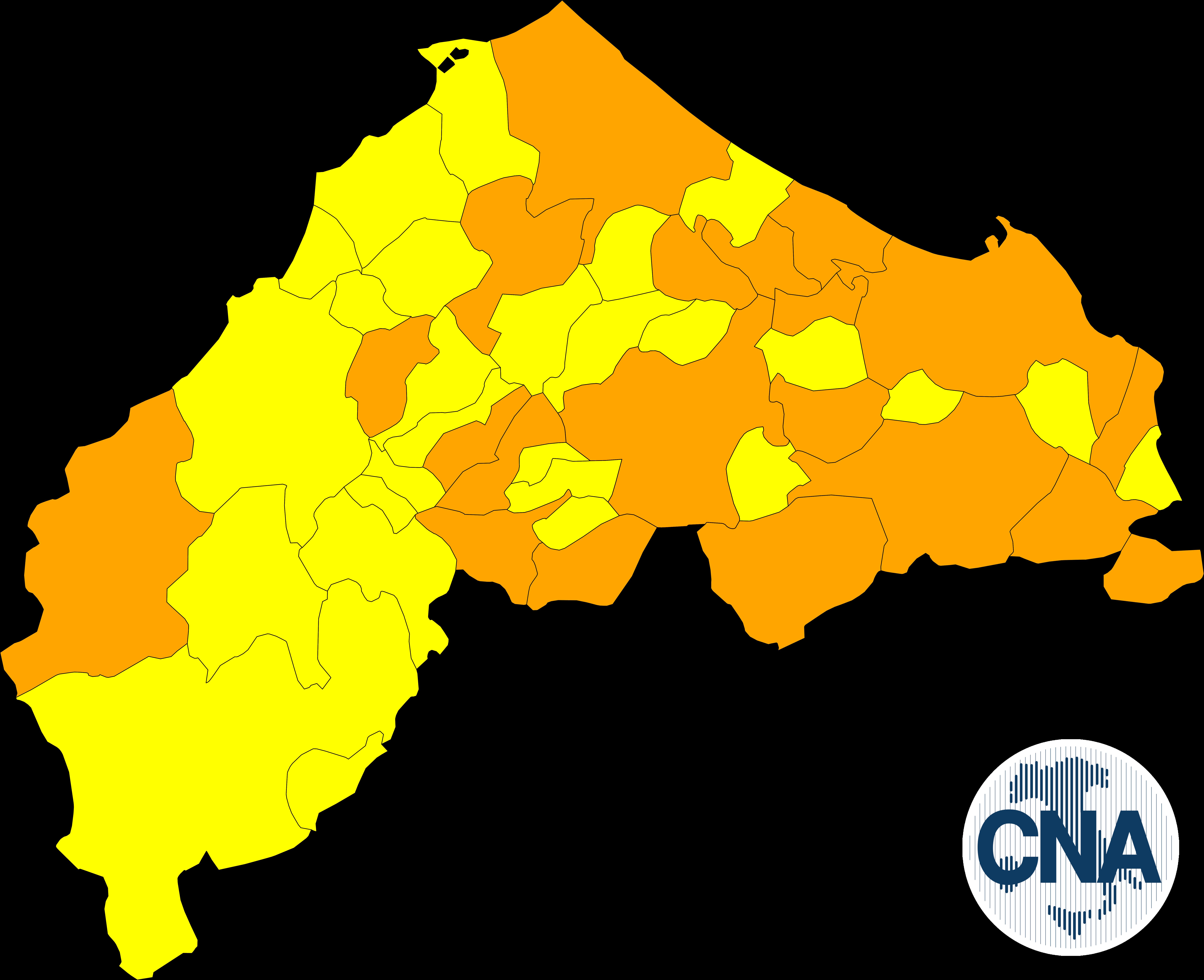 """Covid in provincia: 20 comuni in """"arancione"""""""